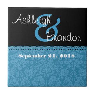 Keepsake Wedding Favor Caribbean  Blue Damask Tile