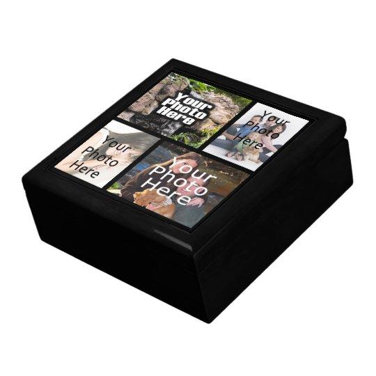 Keepsake Wood Jewellery/Valet Box, 4 Photo Collage Large