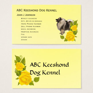 Keeshond and Yellow Roses