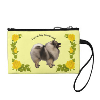 Keeshond and Yellow Roses Coin Purse