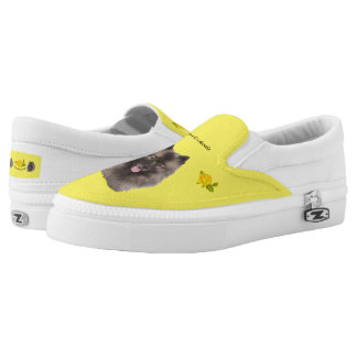 Keeshond and Yellow Roses Printed Shoes