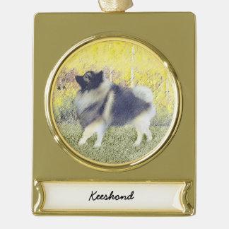 Keeshond Aspen Painting - Cute Original Dog Art Gold Plated Banner Ornament