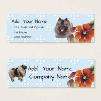 Keeshond Blue w/ White Diamond and Autumn Flower Mini Business Card