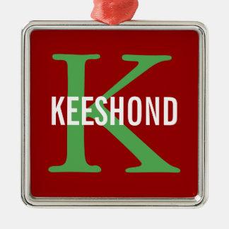Keeshond Breed Monogram Design Silver-Colored Square Decoration