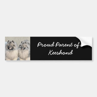 Keeshond Brothers 2 Painting - Original Dog Art Bumper Sticker