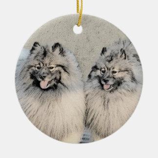 Keeshond Brothers 2 Painting - Original Dog Art Christmas Ornament