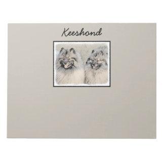 Keeshond Brothers 2 Painting - Original Dog Art Notepad