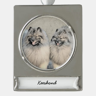 Keeshond Brothers 2 Painting - Original Dog Art Silver Plated Banner Ornament