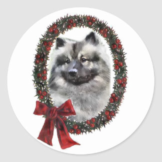 Keeshond Christmas Gifts Classic Round Sticker