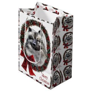 Keeshond Christmas Medium Gift Bag