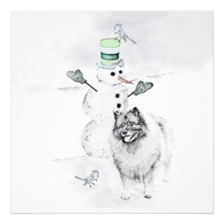 Keeshond Christmas Snowman Art Photo