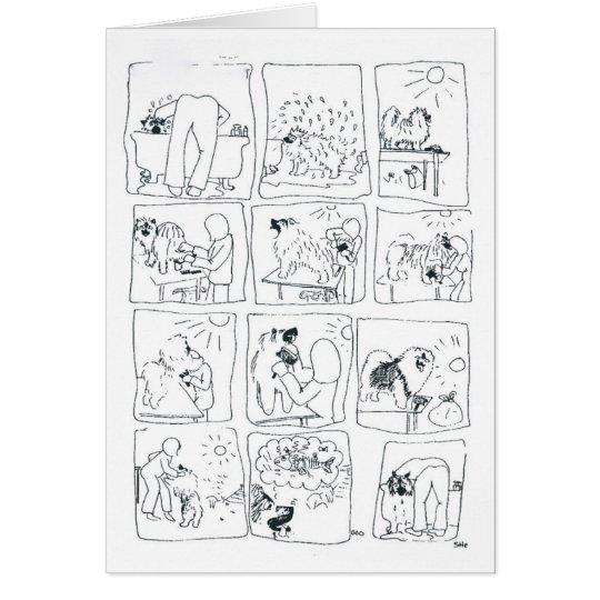 Keeshond comic Bathtime Card
