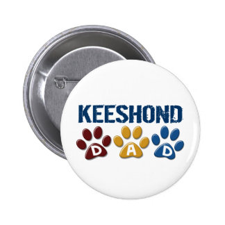 KEESHOND Dad Paw Print 1 6 Cm Round Badge