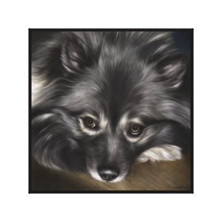 """Keeshond digital painting titled """"Glamour"""" Canvas Print"""