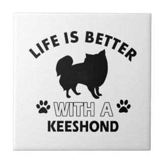 Keeshond dog breed designs ceramic tiles