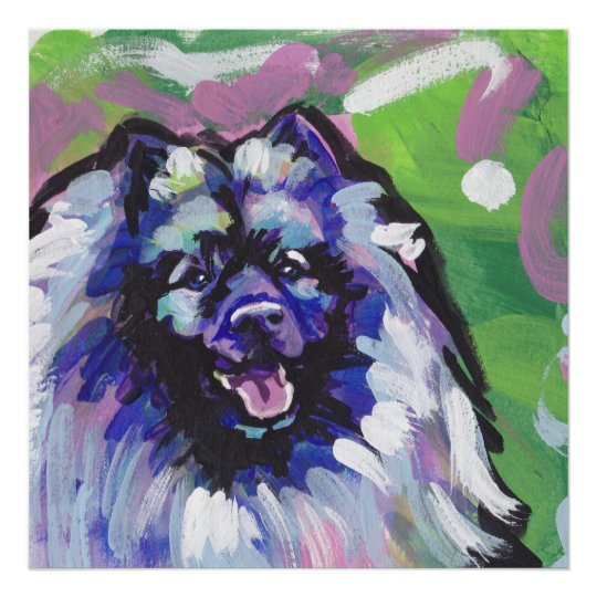 Keeshond Dog Bright Pop Art Poster Print