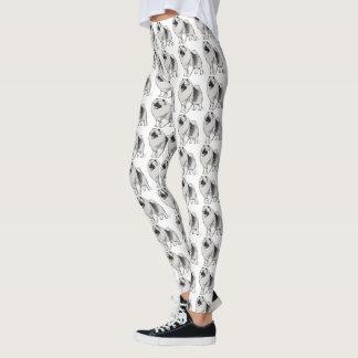 Keeshond Dog Cartoon Pattern Leggings