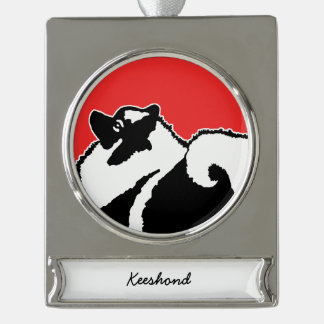 Keeshond Graphics Silver Plated Banner Ornament