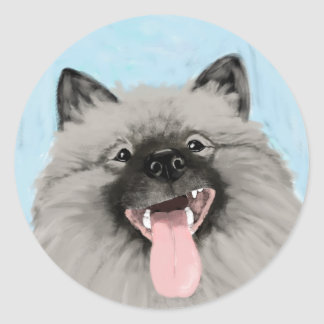 Keeshond Happy Face Classic Round Sticker