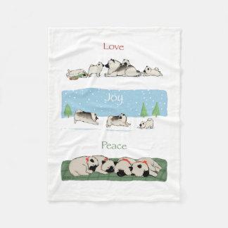 Keeshond Love Joy Peace Fleece Blanket