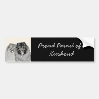 Keeshond Mom and Son Painting - Original Dog Art Bumper Sticker