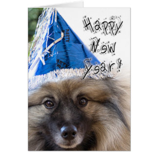 Keeshond New Year greeting card
