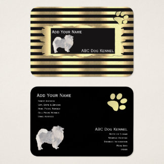 Keeshond on Black and Gold with pawprint Business Card