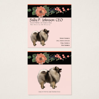 Keeshond on Black Melon Floral Square Business Card
