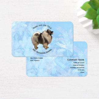Keeshond on Blue Crystal Business Card