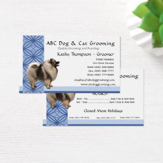 Keeshond on Blue Design Business Card