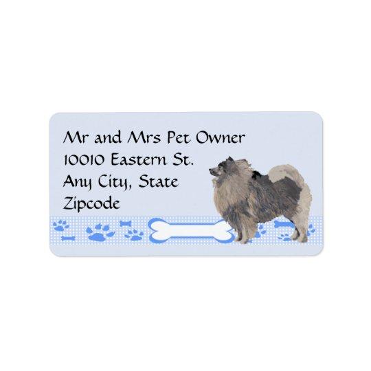 Keeshond on Blue Gingham Address Label