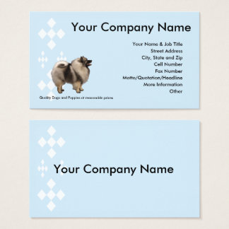 Keeshond on blue with white diamonds business card