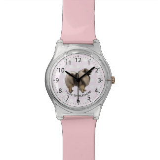 Keeshond on Pink Gingham Wristwatch