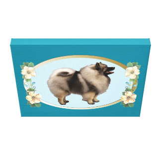 Keeshond on Teal Oval and Flowers Canvas Print