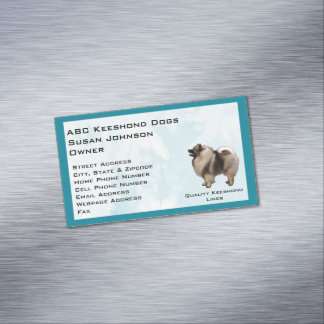 Keeshond on Turquoise Crystal Magnetic Business Cards
