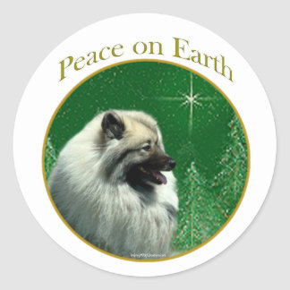 Keeshond Peace Classic Round Sticker