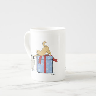 Keeshond Puppy and Kitten Christmas Tea Cup