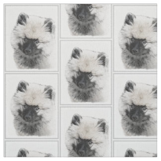 Keeshond Puppy (Drawing) Fabric