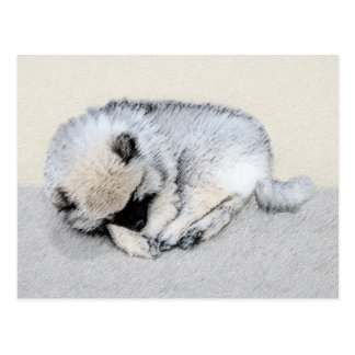 Keeshond Puppy (Sleeping) Postcard