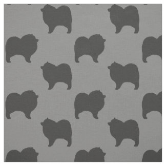 Keeshond Silhouettes Pattern Fabric