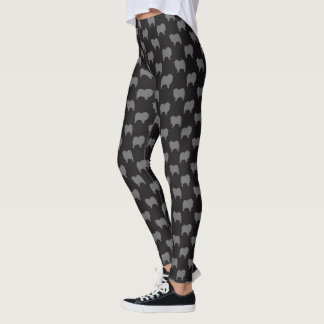 Keeshond Silhouettes Pattern Grey and Black Leggings