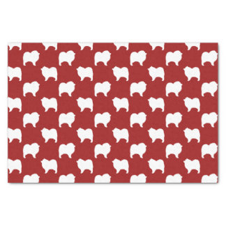 Keeshond Silhouettes Pattern Red Tissue Paper