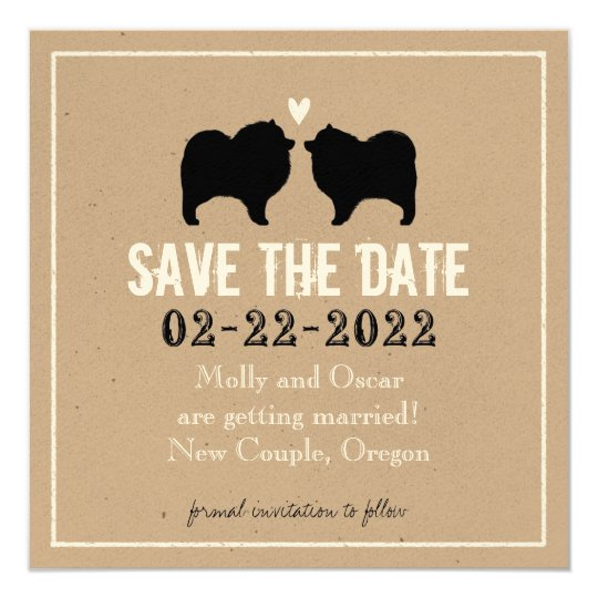 Keeshond Silhouettes Wedding Save the Date Card