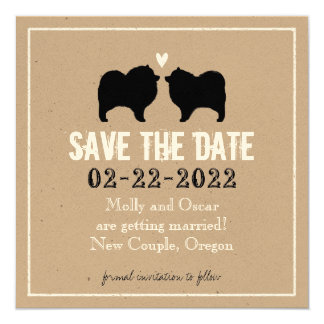 Keeshond Silhouettes Wedding Save the Date 13 Cm X 13 Cm Square Invitation Card