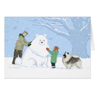 Keeshond Snow Dog Card