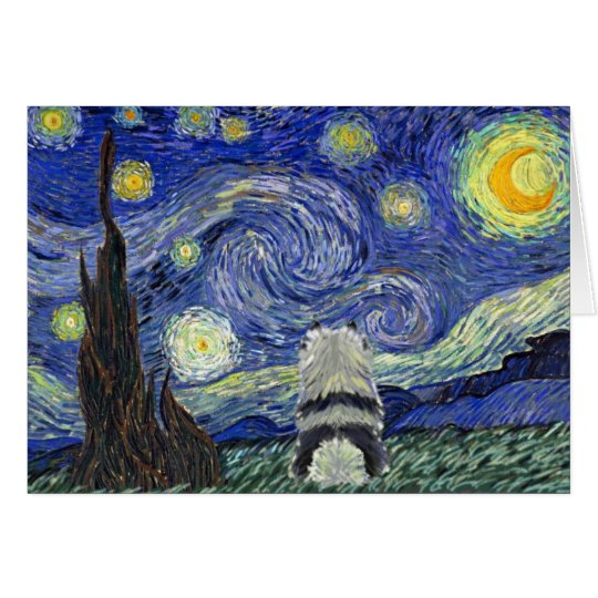 Keeshond Starry Night Card