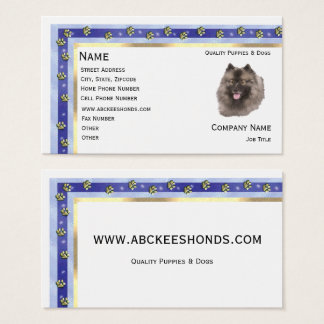 Keeshond with gold Pawprints Business Card