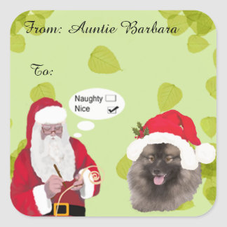 Keeshond with Santa makin His Naughty or Nice List Square Sticker