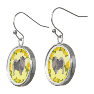 Keeshond with Yellow Roses Earrings