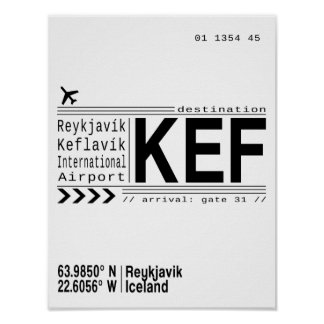 KEF Reykjavik, Iceland airport poster print